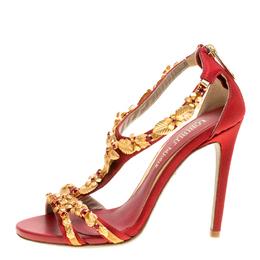 Loriblu Bijoux Red Satin Floral Embellished Crystal Studded Sandals Size 36 156523