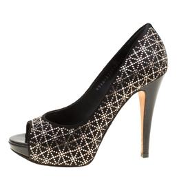 Gina Black Satin Crystal Embellished Peep Toe Platform Pumps Size 37 156175