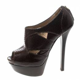 Fendi Brown Python Embossed Leather Platform Ankle Boots Size 38 157364