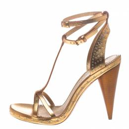 Burberry Metallic Gold Leather Hans T Strap Sandals Size 39 181802