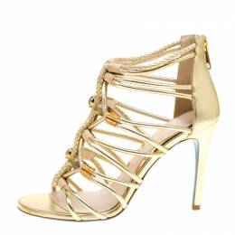 Loriblu Bijoux Metallic Gold Leather Crystal Embellished Strappy Sandals Size 37.5 154829