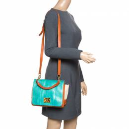 Emilio Pucci Multicolor Snakeskin/Canvas and Leather Top Handle Bag