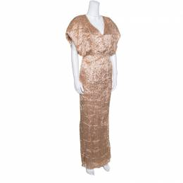 Fendi Brown Faux Feather Textured Maxi Dress S 154481