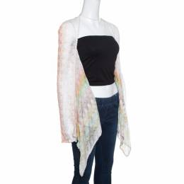 Missoni Multicolor Perforated Patterned Knit Front Open Cardigan S 154634