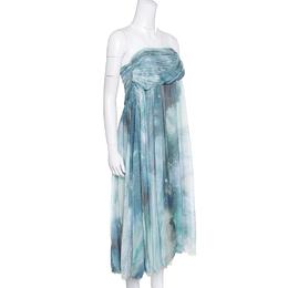 Matthew Williamson Printed Silk Draped Strapless Dress S 154491