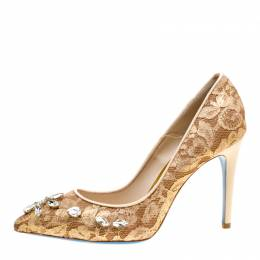 Loriblu Bijoux Beige Lace Crystal Embellished Pointed Toe Pumps Size 38.5 154344