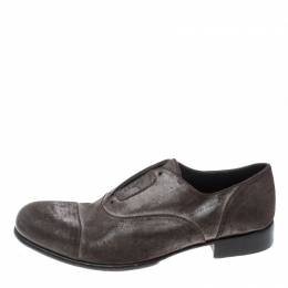 Dolce&Gabbana Brown Antique Finish Suede Laceless Oxfords Size 40 156899