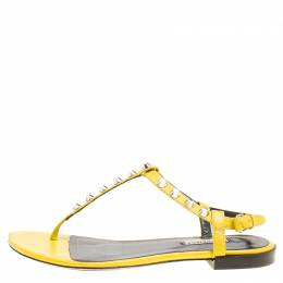Balenciaga Yellow Leather Arena Studded Thong Sandals Size 38 155227