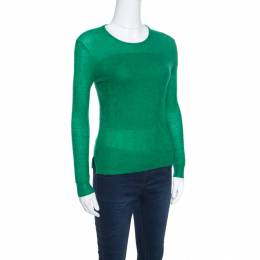 Chloe Emerald Green Tea Cashmere and Silk Textured Sweater S