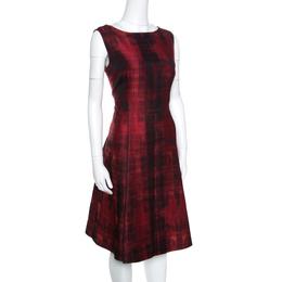 Ch Carolina Herrera Red and Black Abstract Pattern Jacquard Sheath Dress L 157172