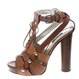 Dolce&Gabbana Brown Leather Stud Detail Ankle Strap Platform Sandals Size 38 157540