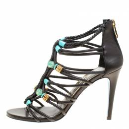 Loriblu Bijoux Black Leather Crystal Embellished Strappy Sandals Size 38 156548