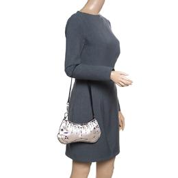 Prada Light Beige Satin Embroidered Shoulder Bag 155796