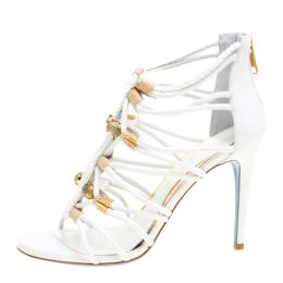 Loriblu Bijoux White Leather Crystal Embellished Strappy Sandals Size 38 156542