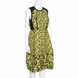Oscar De La Renta Yellow and Black Embossed Floral Jacquard Lace Detail Dress L 156866