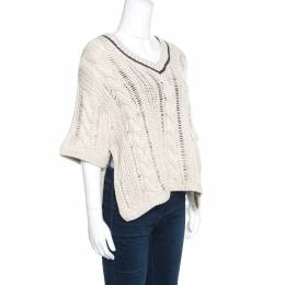 Brunello Cucinelli Beige Chunky Knit Monili Trim V Neck Sweater S