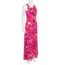 Diane Von Furstenberg Pink Silk Eden Garden Printed Davina Maxi Dress S 154648