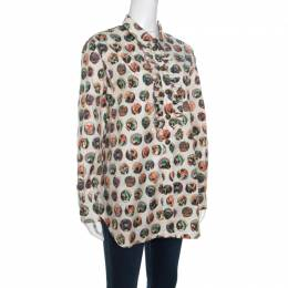 Burberry Beige Monster Mask Print Ruffle Detail Shirt L 151415