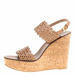 Tory Burch Beige Perforated Leather Daisy Cork Wedge Sandals Size 40.5 151898