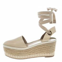 Tory Burch Beige Leather Dandy Ankle Wrap Espadrille Wedge Sandals Size 40 151896