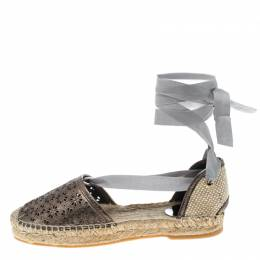 Oscar De La Renta Metallic Anthracite Laser Cut Leather Adriana Espadrille Flat Sandals Size 41 156490