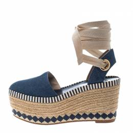 Tory Burch Blue Denim Dandy Ankle Wrap Espadrille Wedge Sandals Size 36.5
