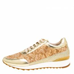 Loriblu Metalllic Gold Leather and Lace Sneakers Size 41 153595