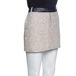 Zadig & Voltaire Beige Metallic Jacqaurd Leather Trim Jack Deluxe Skirt M 153594