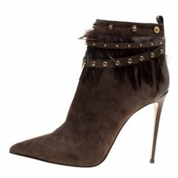 Le Silla Brown Suede Feather Trimmed Pointed Toe Ankle Boots Size 41 151236