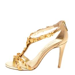 Loriblu Bijoux Beige Satin Floral Embellished Crystal Studded Sandals Size 36 154121