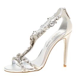 Loriblu Bijoux Grey Satin Floral Embellished Crystal Studded Sandals Size 37.5 154120