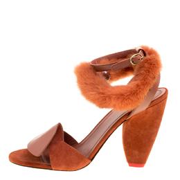 Cèline Brown Leather and Mink Fur Bracelet Peep Toe Sandals Size 38.5 Celine 280449