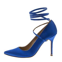Vetements + Manolo Blahnik Blue Satin Pointed Toe Ankle Tie Pumps Size 38.5 151245