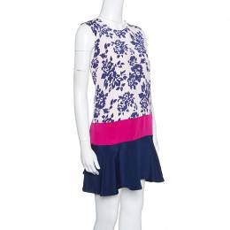 Mary Katrantzou Colorblock Rosario Print Sleeveless Antona Shift Dress M 154199