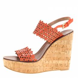Tory Burch Coral Red Perforated Leather Daisy Cork Wedge Sandals Size 39 152119