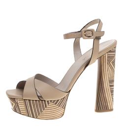 Le Silla Beige Leather Ankle Strap Block Heel Platform Sandals Size 39 152913