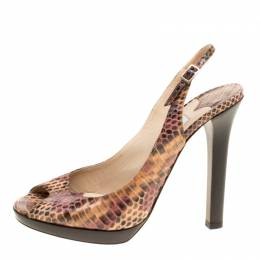 Jimmy Choo Brown Python Peep Toe Slingback Sandals Size 38.5 151850