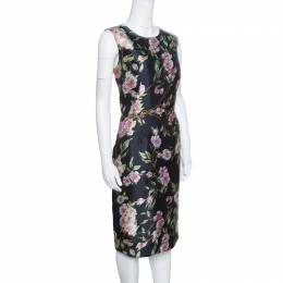 Dolce&Gabbana Black Floral Print Sleeveless Dress M 153567