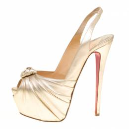 Christian Louboutin Gold Leather Miss Benin Knotted Platform Slingback Sandals Size 40 153855