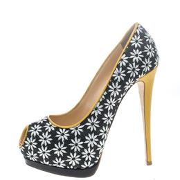 Giuseppe Zanotti Design Multicolor Fabric and Leather Peep Toe Platform Pumps Size 39 149916