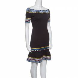 Peter Pilotto Black Jacquard Day Knit Off Shoulder Peplum Dress S 147505