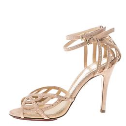 Charlotte Olympia Beige Crystal Embellished Suede Octavia Ankle Strap Sandals Size 36.5