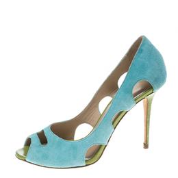 Manolo Blahnik Aqua Green Suede Cutout Peep Toe Pumps Size 35.5 150367