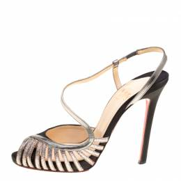 Christian Louboutin Black Satin Scoubridou Asymmetric Mixed Media Sandals Size 37 147276