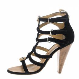 Giuseppe Zanotti Design Black Suede Strappy Gladiator Sandals Size 38.5 150347