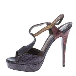 Saint Laurent Multicolor Python T Strap Platform Sandals Size 40 150344