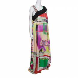 Etro Multicolor Printed Silk Embellished Strap Detail Sleeveless Maxi Dress L 148497