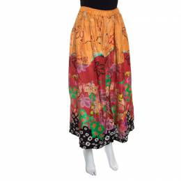 Etro Multicolor Floral Printed Silk Maxi Skirt M 149326