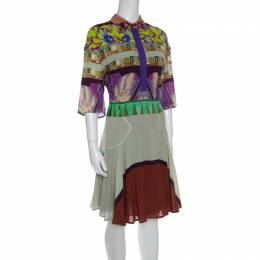 Etro Multicolor Printed Short Sleeve Button Front Shirt Dress M 149346