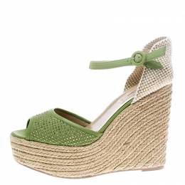 Valentino Green Studded Leather Espadrille Wedge Ankle Strap Sandals Size 41
